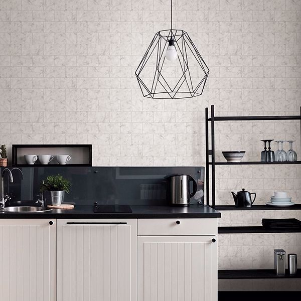 Nhs3204 Metro Carrara Peel Stick Wallpaper By Inhome