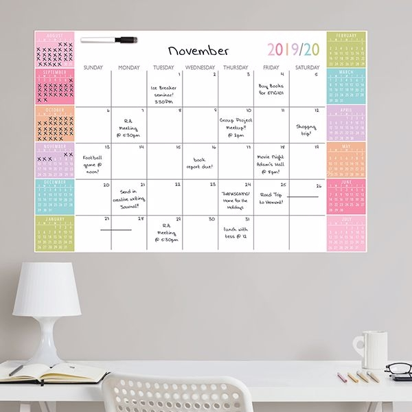 Picture of Color Block Academic 2019-2020 Dry Erase Calendar