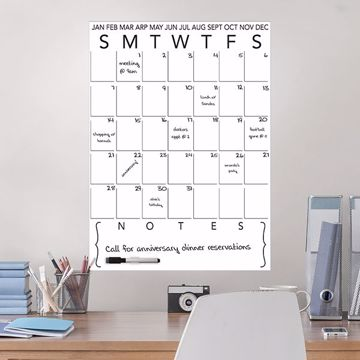 Picture of White Dry Erase Calendar Decal with Notes