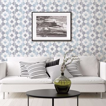 Picture of Babylon Blue Abstract Floral Wallpaper