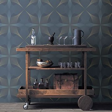 Picture of Radius Navy Geometric Wallpaper