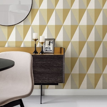 Picture of Aspect Yellow Geometric Faux Grasscloth Wallpaper
