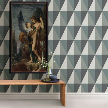 Picture of Aspect Teal Geometric Faux Grasscloth Wallpaper