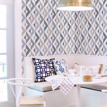 Picture of Seesaw Slate Geometric Faux Linen Wallpaper