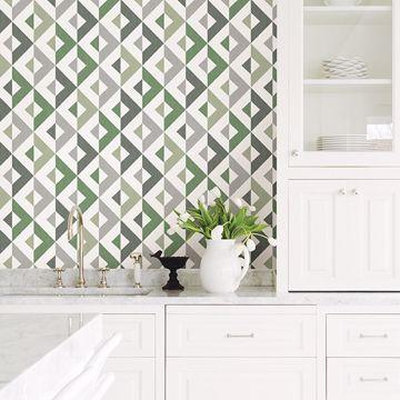 Picture of Seesaw Green Geometric Faux Linen Wallpaper