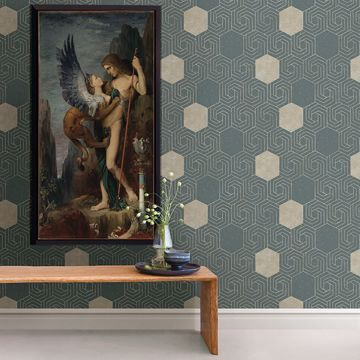 Picture of Momentum Dark Green Geometric Wallpaper