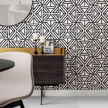 Picture of Helios Black Geometric Wallpaper
