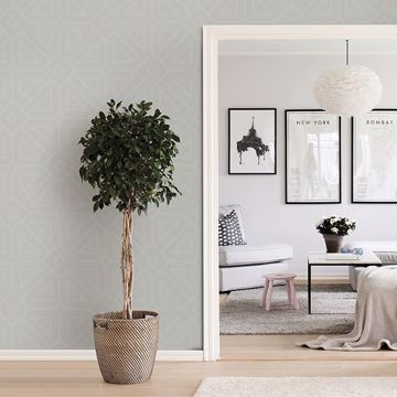 Picture of Voltaire Silver Geometric Wallpaper