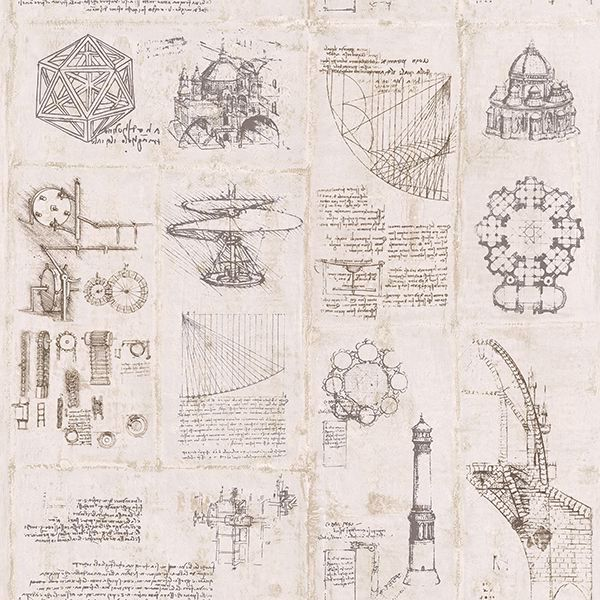 Picture of Schizzi Papiro Beige Sketch Wallpaper
