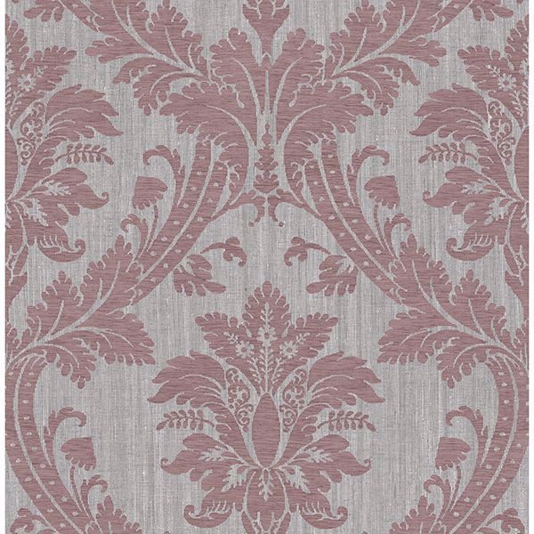 Picture of Clelia Maroon Damask Wallpaper