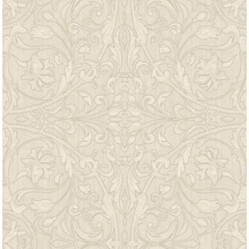 Picture of Fenice Beige Scroll Wallpaper