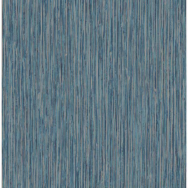Picture of Kofi Blue Faux Grasscloth Wallpaper