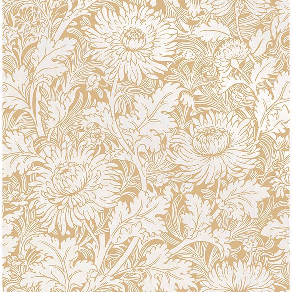 Picture of Zinnia Mustard Floral Wallpaper