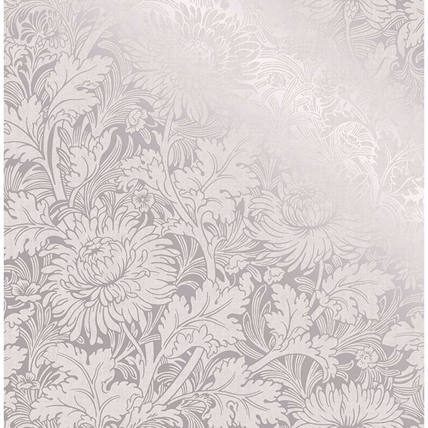 Picture of Zinnia Silver Floral Wallpaper