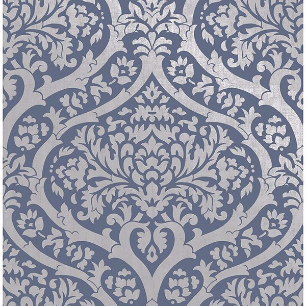 Picture of Sandringham Blue Damask Wallpaper