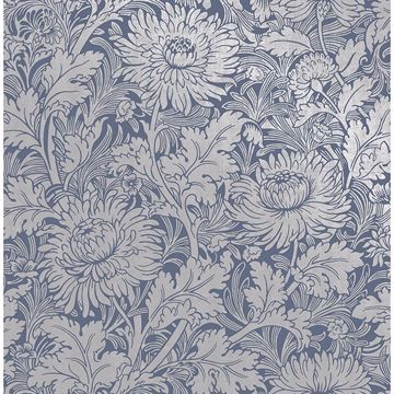 Picture of Zinnia Blue Floral Wallpaper