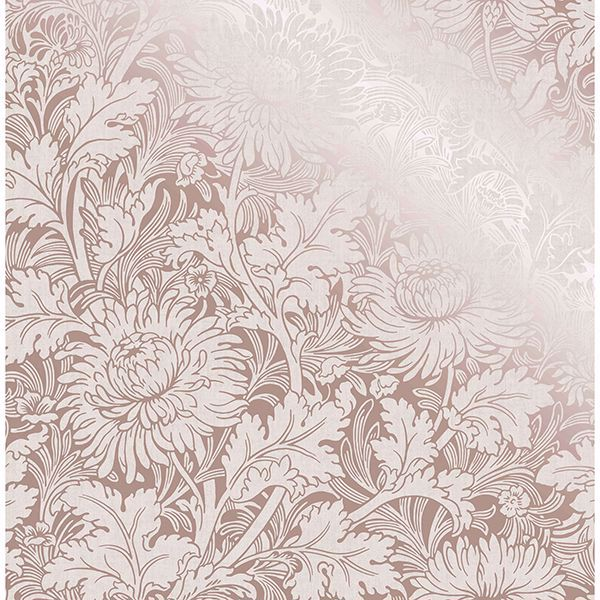 Picture of Zinnia Rose Gold Floral Wallpaper