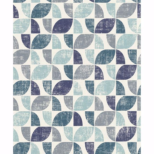 Picture of Dorwin Blue Geometric Wallpaper
