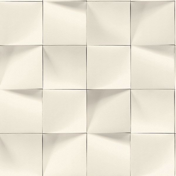 Picture of Eyre White Three-Dimensional Geometric Wallpaper