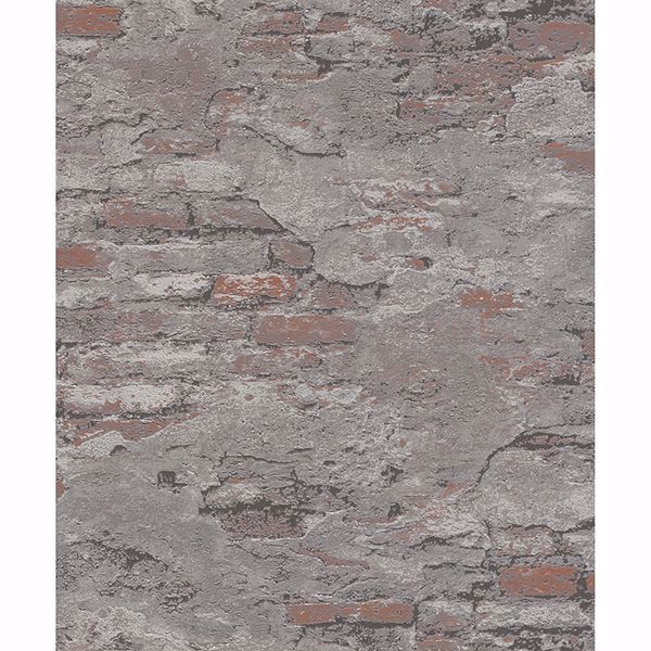 Picture of Templier Grey Distressed Brick Wallpaper