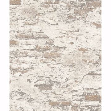 Picture of Templier Off-White Distressed Brick Wallpaper