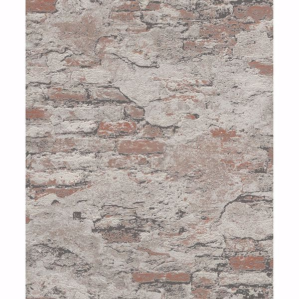 Picture of Templier Brown Distressed Brick Wallpaper