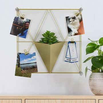 Picture of Gold Triangle Metal Grid with Pocket Wall Organizer