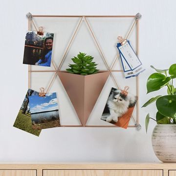 Picture of Rose Gold Triangle Metal Grid with Pocket Wall Organizer