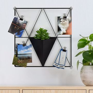 Picture of Matte Black Triangle Metal Grid with Pocket Wall Organizer