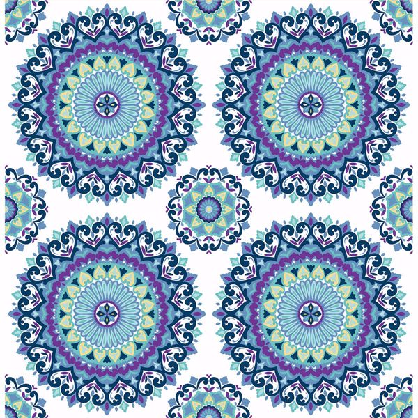 1014 001802 Indigo Boho Medallion Gemma Kismet Wallpaper By A