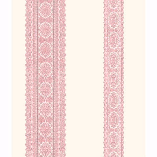 Picture of Brynn Pink Paisley Stripe Wallpaper