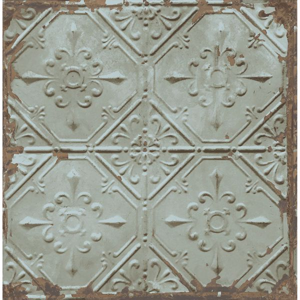 Picture of Tin Ceiling Teal Distressed Tiles