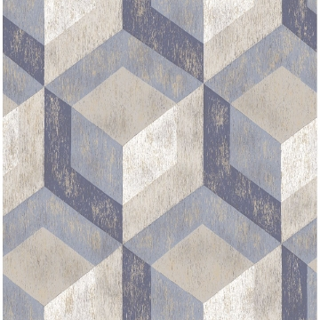 Picture of Rustic Wood Tile Blue Geometric