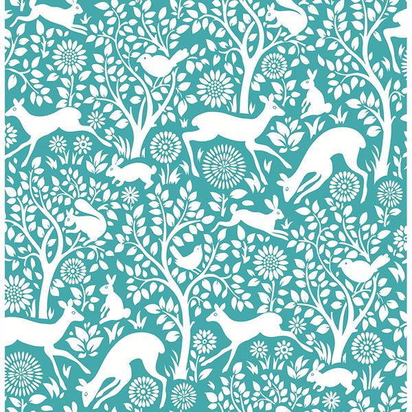 2702 22731 Meadow Teal Animals Wallpaper By A Street