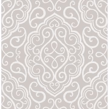 Picture of Heavenly Taupe Damask Wallpaper