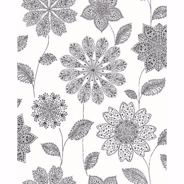 Picture of Panache Black Floral Wallpaper