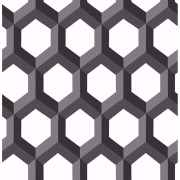 Picture of Hex Black Geometric Wallpaper