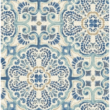 Picture of Florentine Blue Tile Wallpaper