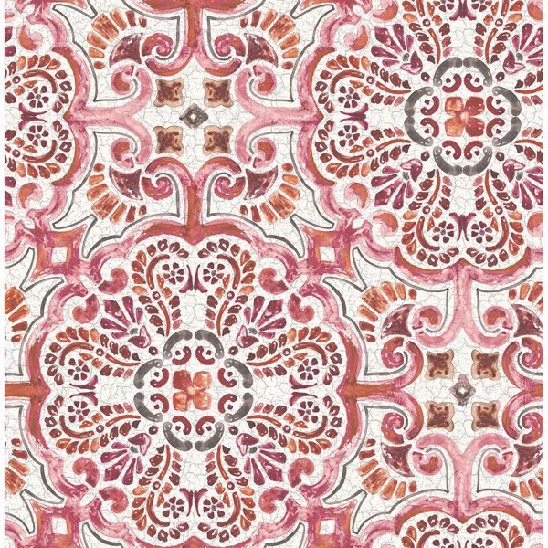 Picture of Florentine Pink Tile Wallpaper