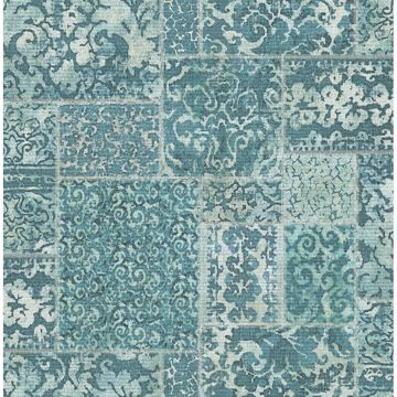 Picture of Esma Teal Vintage Carpet Wallpaper