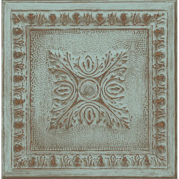 Picture of Ornamental Turquoise Tin Tile Wallpaper