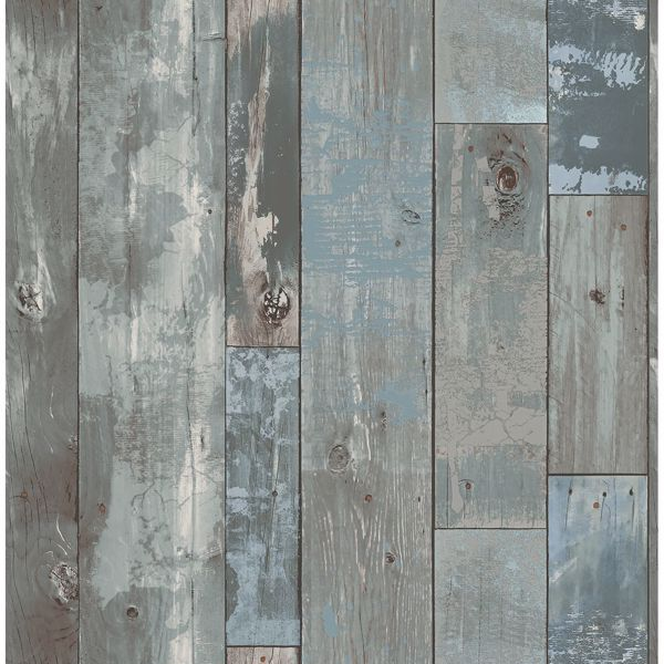 Picture of Deena Blue Distressed Wood Wallpaper