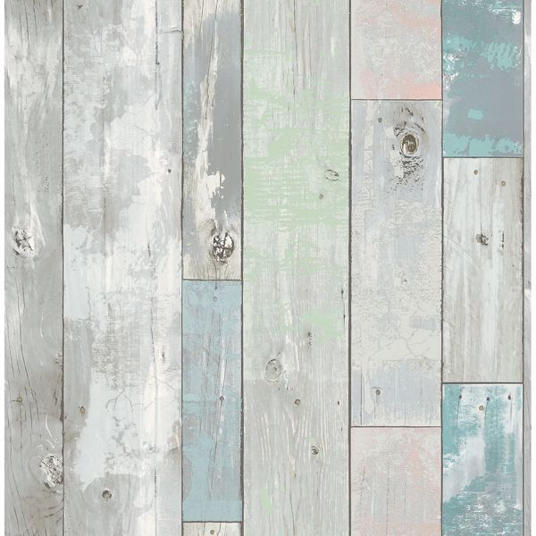 Picture of Deena Turquoise Distressed Wood Wallpaper
