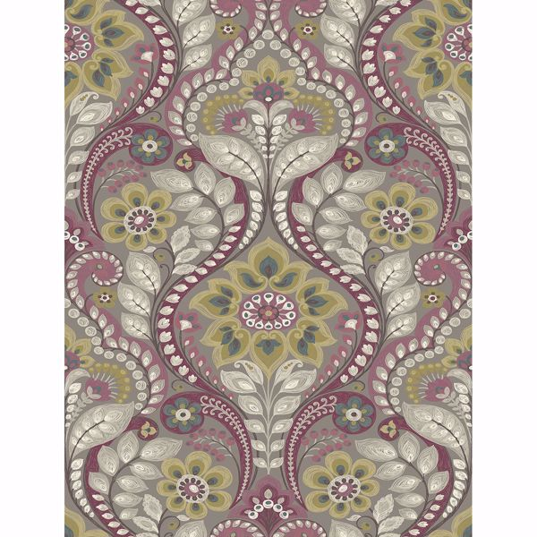 Picture of Night Bloom Grey Damask Wallpaper