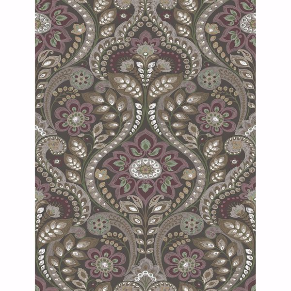 Picture of Night Bloom Charcoal Damask Wallpaper