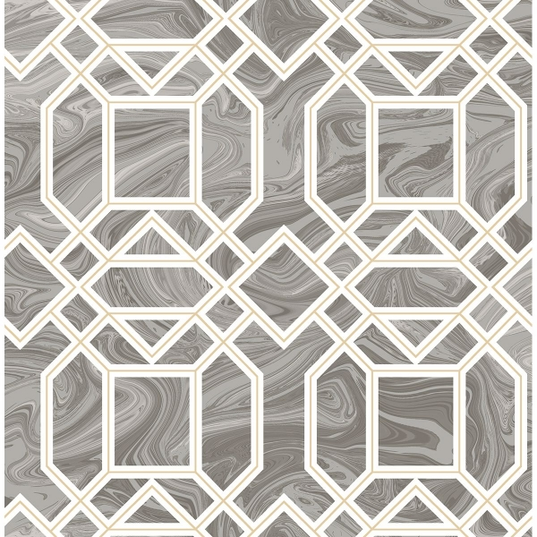 Picture of Daphne Grey Trellis Wallpaper