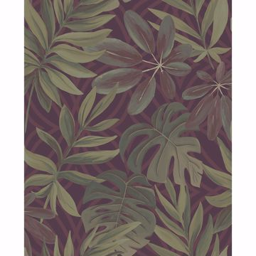 Picture of Nocturnum Maroon Leaf Wallpaper