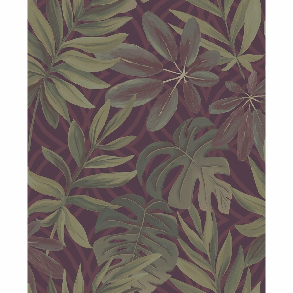 Picture of Nocturnum Maroon Leaf Wallpaper