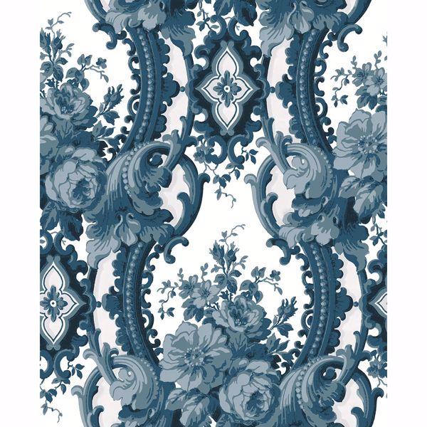 Picture of Dreamer Blue Damask Wallpaper