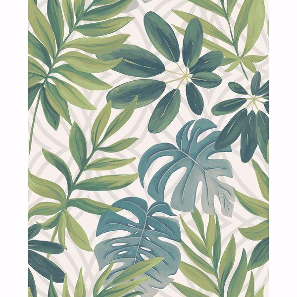 Picture of Nocturnum White Leaf Wallpaper